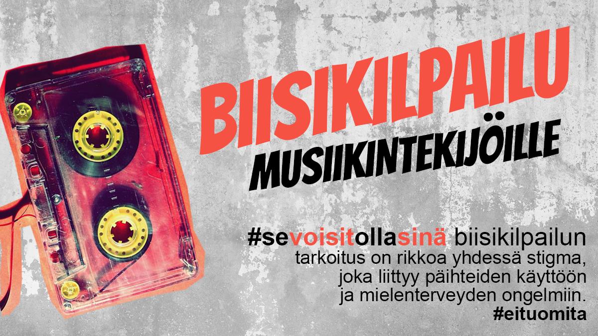 Vanha C-kasetti ja teksti: Biisikilpailu musiikintekijöille: #sevoisitollasinä biisikilpailun tarkoitus on rikkoa yhdessä stigma, joka liittyy päihteiden käyttöön ja mielenterveyden ongelmiin. #eituomita