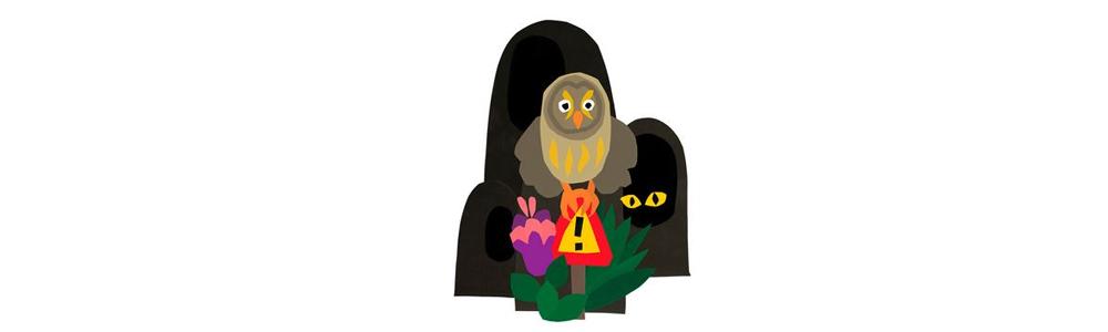 Kuvassa pöllö istuu muuvaara-kyltin päällä. Taustalla kivikossa näkyvät kiiluvat silmät.