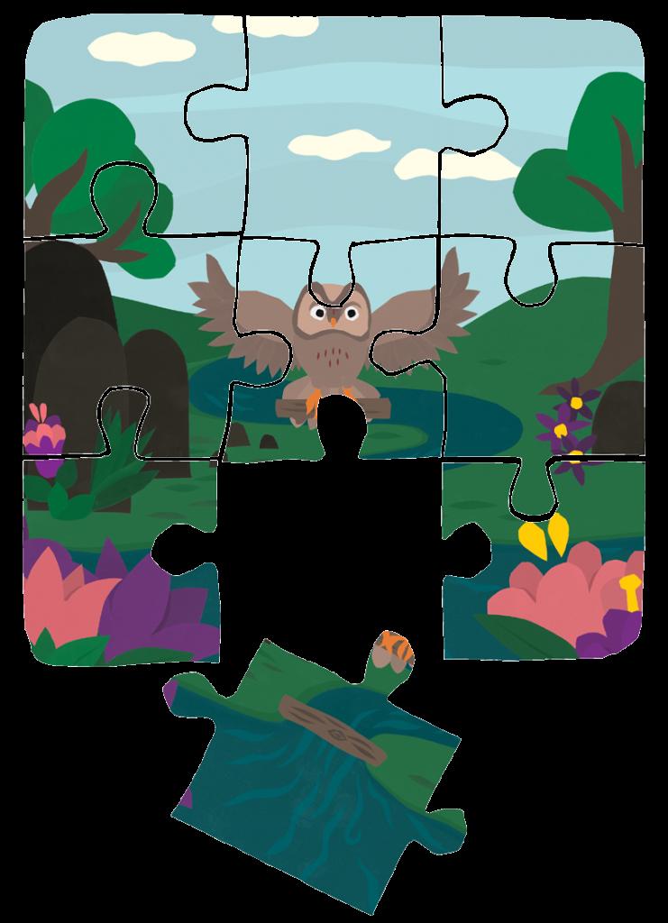 Kuvituskuva pöllö ja palapeli