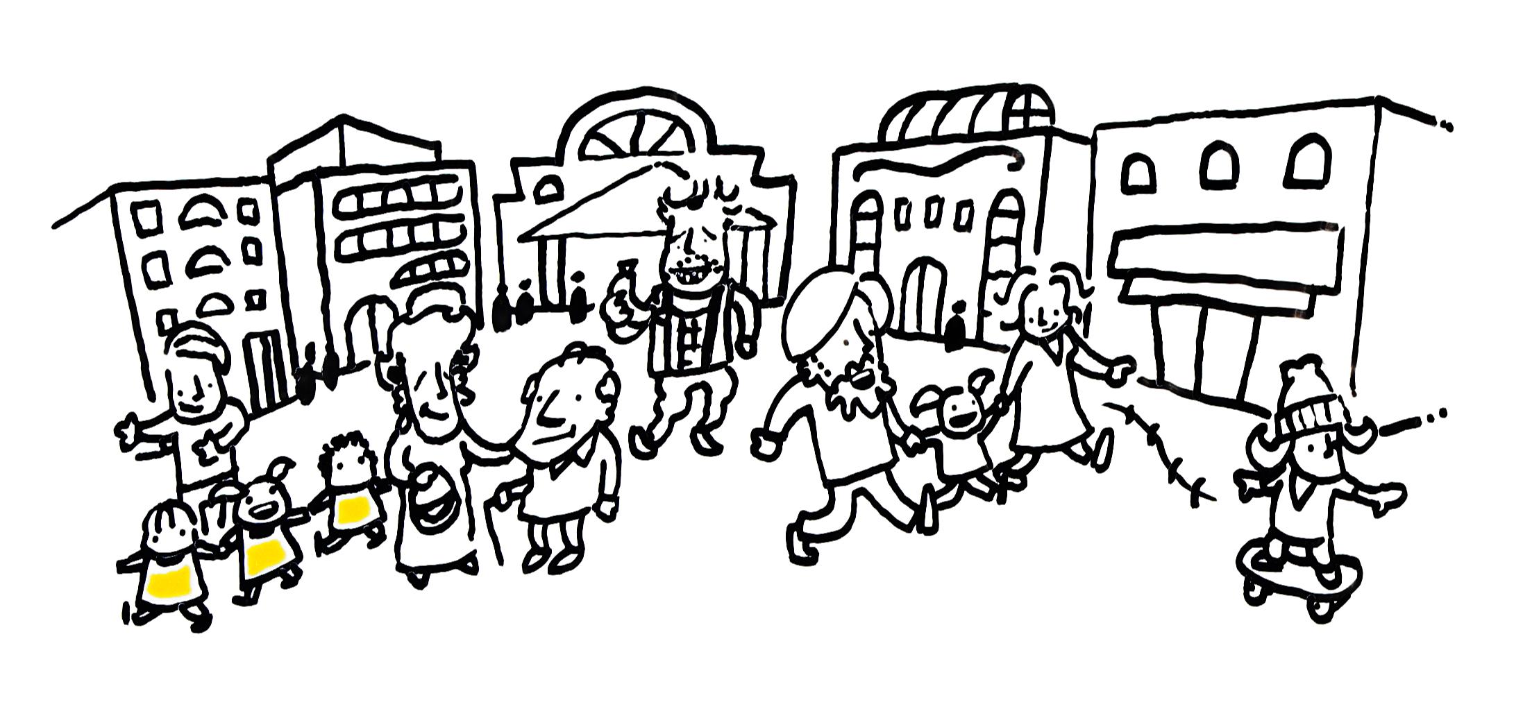 Piirroskuva: Paljon ihmisiä kaupungilla.