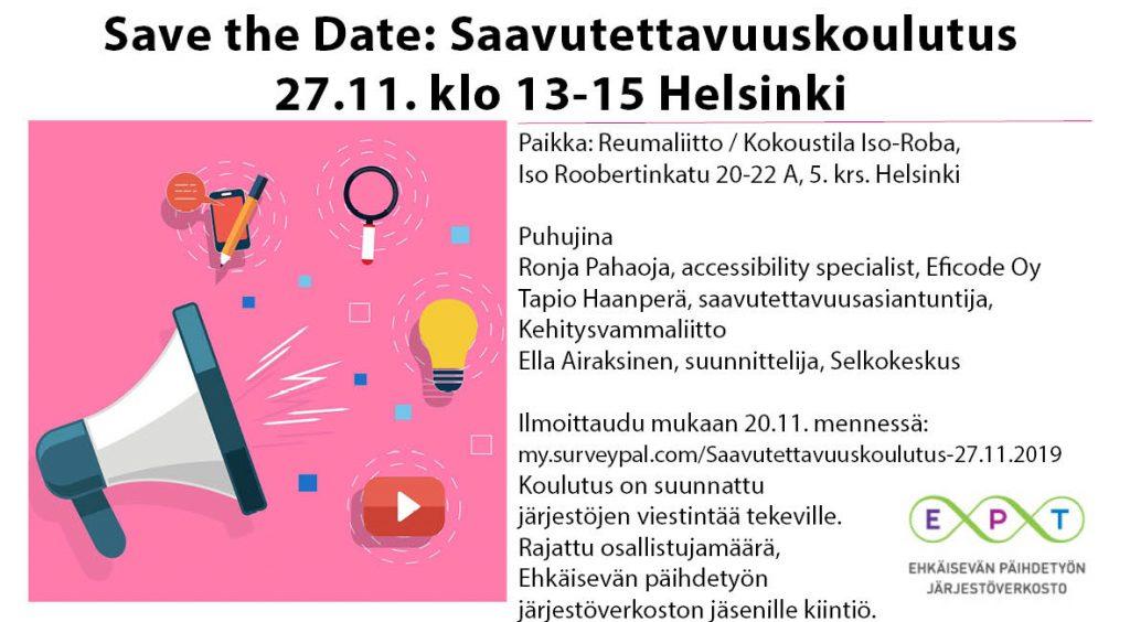 Saavutettavuuskoulutus 27.11. klo 13-15 Helsinki