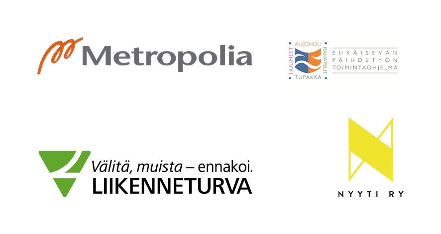Viestintäyhteistyökumppanien logot: Metropolia AMK, Terveyden ja hyvinvoinnin laitos THL, Liikenneturva, Nyyti ry