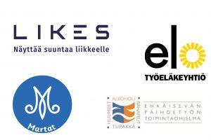 Viestintäyhteistyökumppanien logot: Likes, Työeläkeyhtiö ELO, Marttaliitto, THL