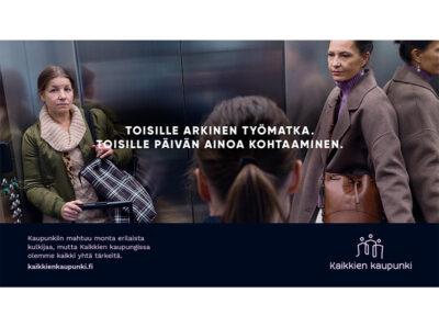 Toisille arkinen työmatka. Toisille Päivän ainoa kohtaaminen. Kaupunkiin mahtuu monta erilaista kulkijaa, mutta Kaikkien kaupungissa olemme kaikki yhtä tärkeitä. kaikkienkaupunki.fi